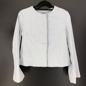 COS Sz 4 Flare Sleeve Collarless Blazer Light Blue